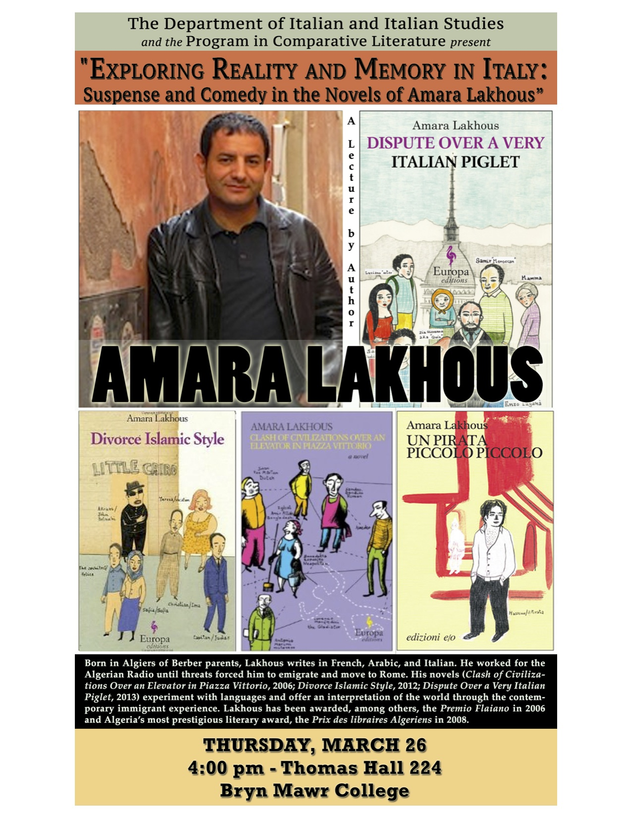 The Algerian writer will talk about his works on March 26 at 4pm.
