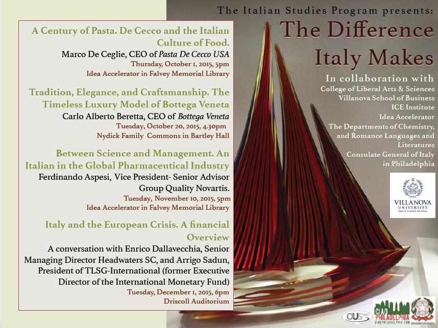 This coming Tuesday, Oct. 20th, join the Italian Club for a lecture in Villanova!