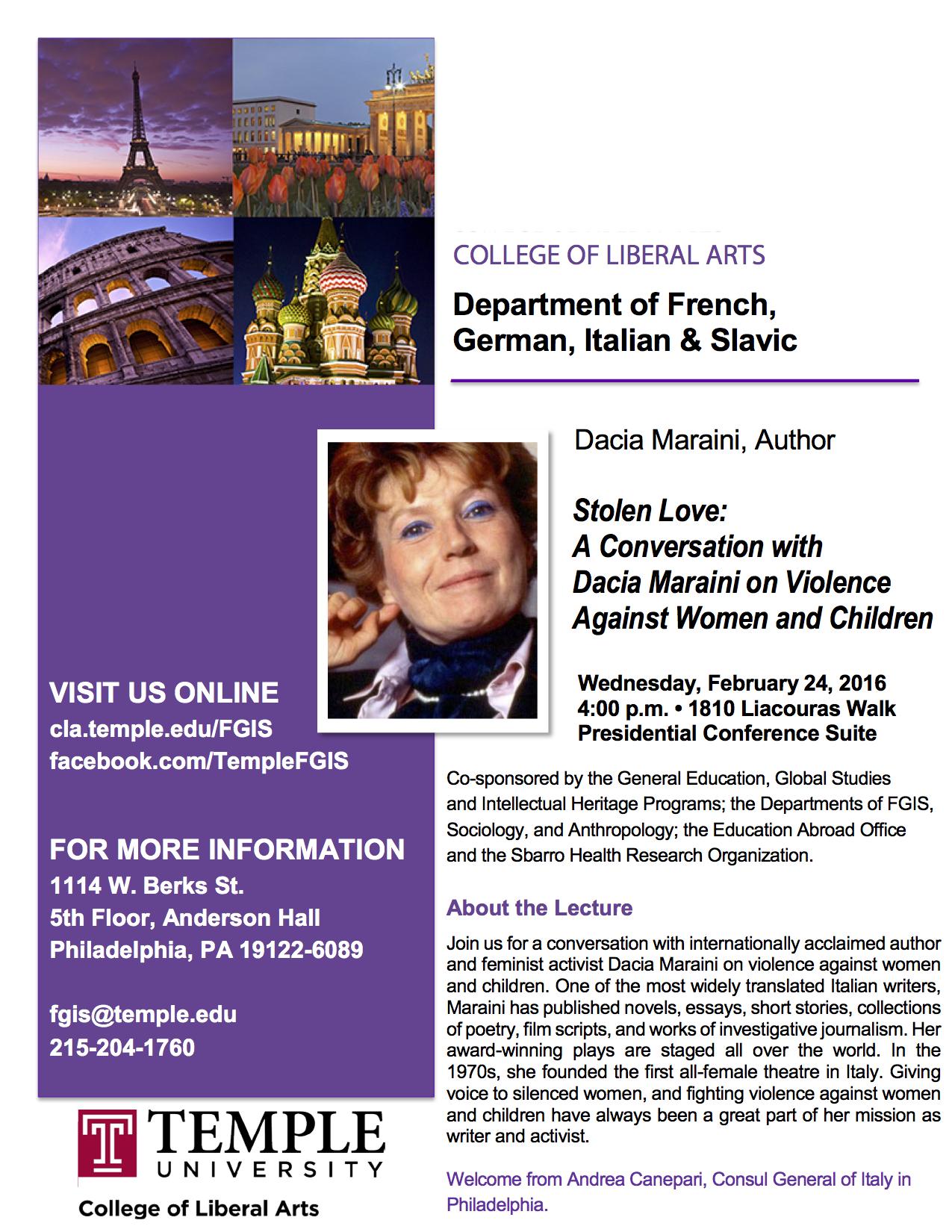 Dacia Maraini Lecture2